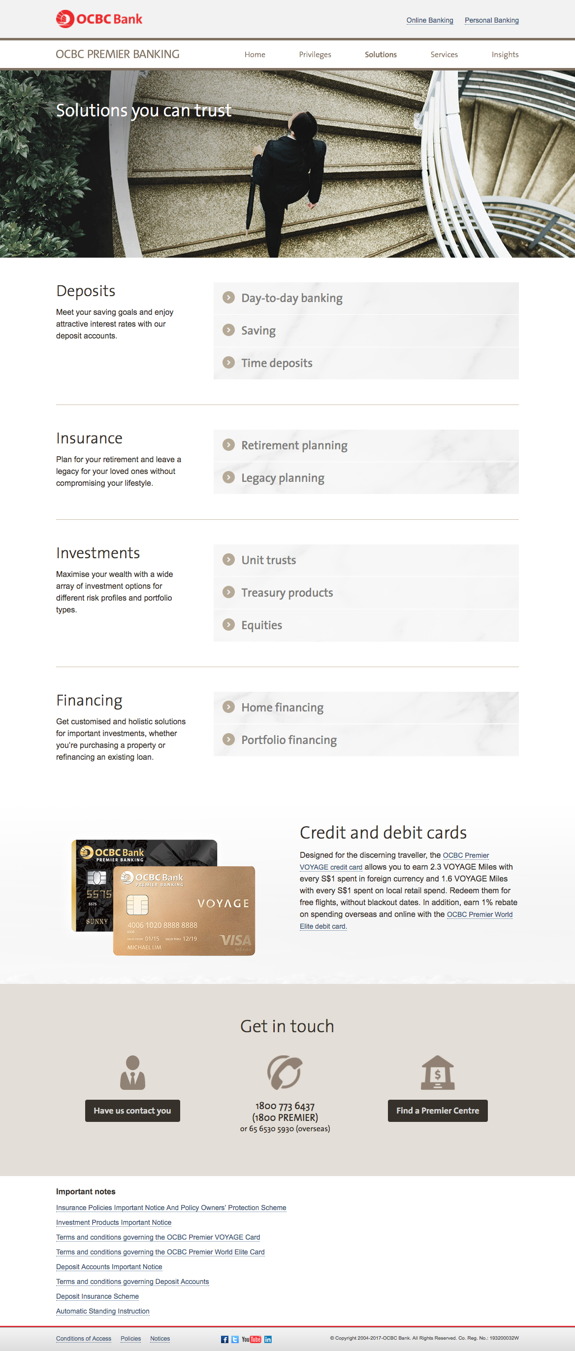 OCBC Premier Banking and Premier Private Client Web Pages