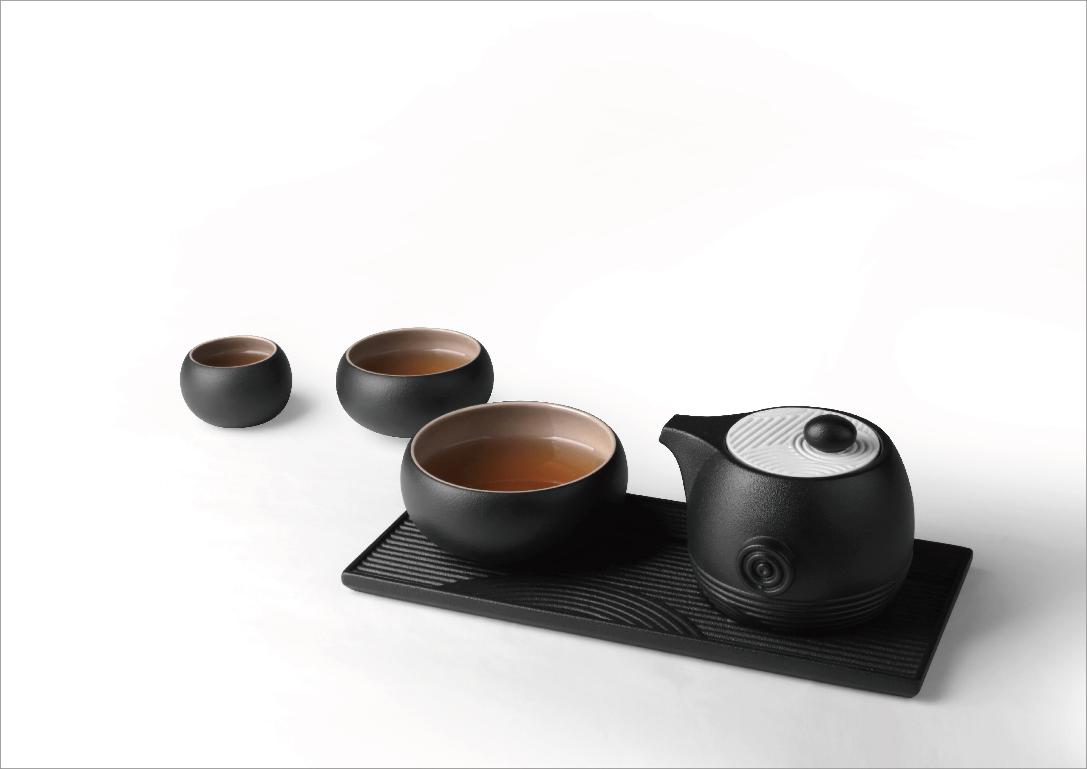 The Swirl-Zen Garden tea set